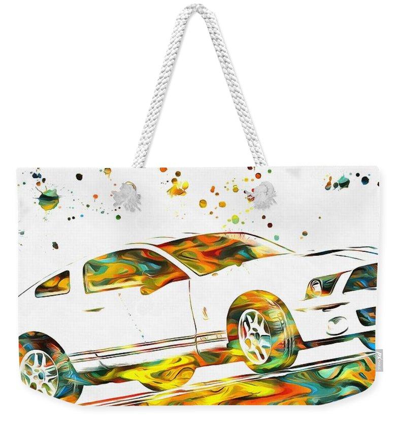 Ford Mustang Paint Splatter Weekender Tote Bag featuring the painting Ford Mustang Paint Splatter by Dan Sproul