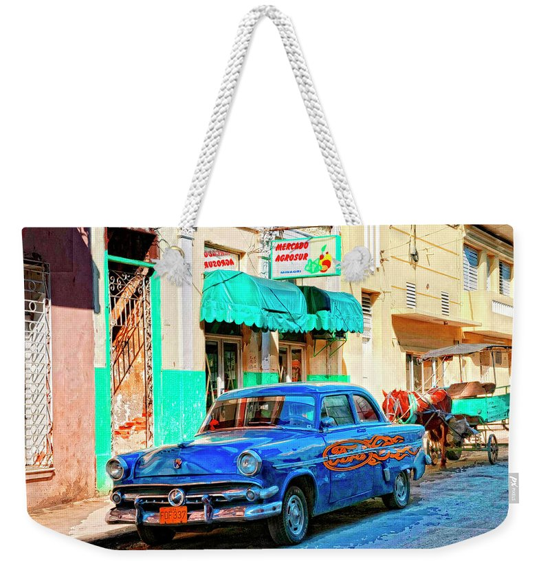 Ford Power Weekender Tote Bag featuring the mixed media Ford Power by Dominic Piperata