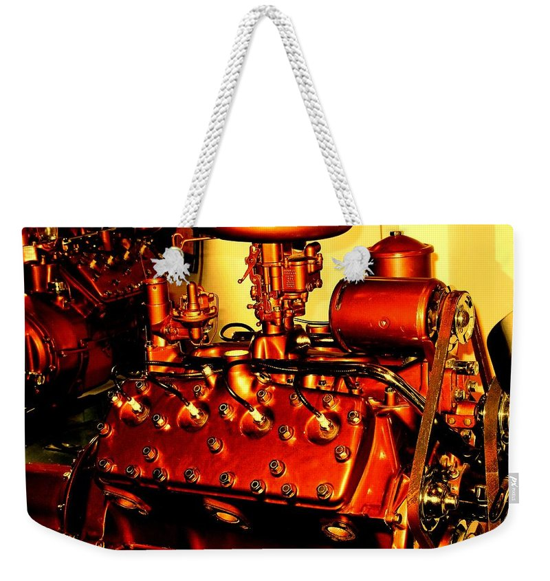 Ford Weekender Tote Bag featuring the photograph Ford V8 by Ian MacDonald