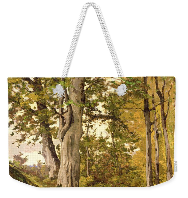Forest Weekender Tote Bag featuring the painting Forest At Fontainebleau by Henri-Joseph Harpignies