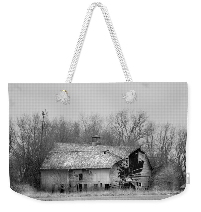 Rustic Weekender Tote Bag featuring the photograph Forest Avenue Barn Bw by Bonfire Photography