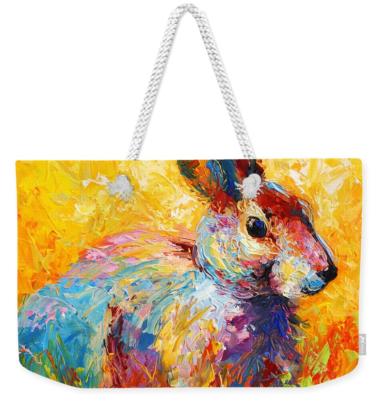 Rabbit Weekender Tote Bag featuring the painting Forest Bunny by Marion Rose