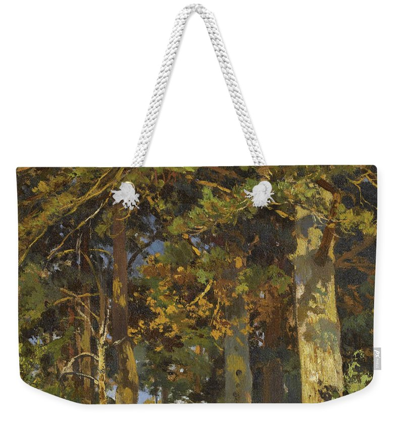 Ivan Shishkin Weekender Tote Bag featuring the painting Forest Clearing by Ivan Shishkin