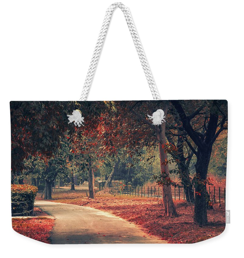 Park Weekender Tote Bag featuring the pyrography Forest by Daniyal Malik