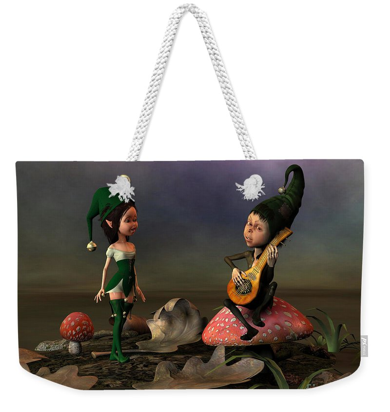 Elf Weekender Tote Bag featuring the digital art Forest Elfves by John Junek