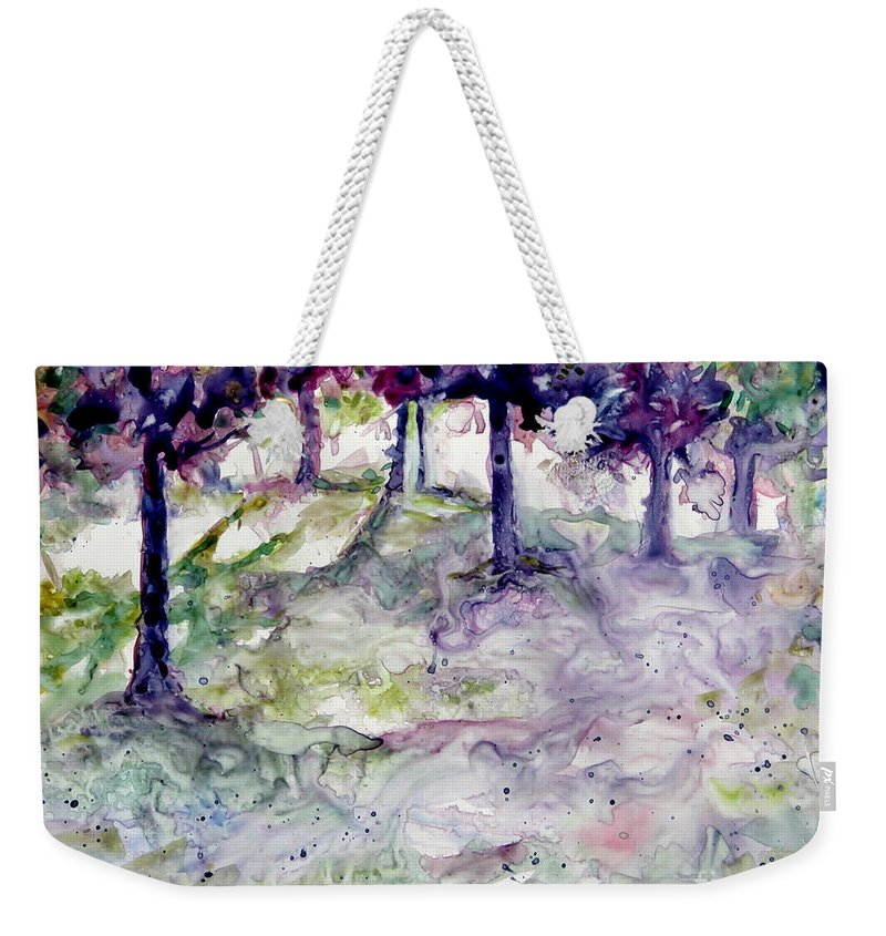Fastasy Weekender Tote Bag featuring the painting Forest Fantasy by Jan Bennicoff