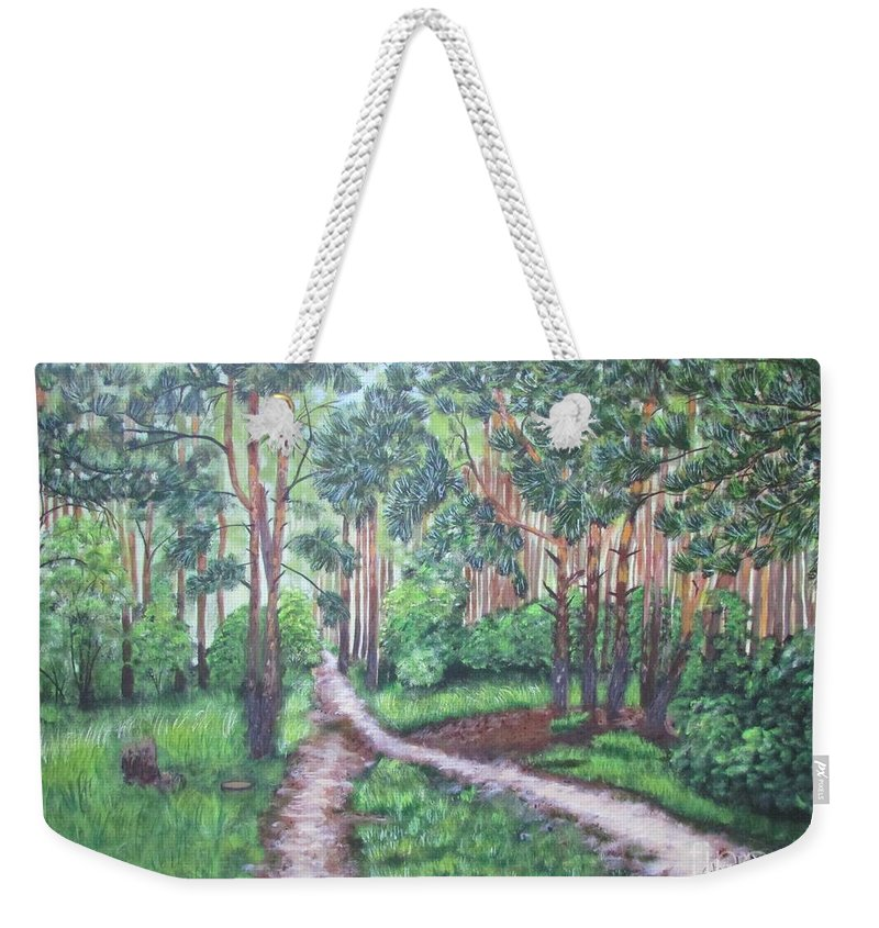 Nature Weekender Tote Bag featuring the painting Forest by Galina Haakenson