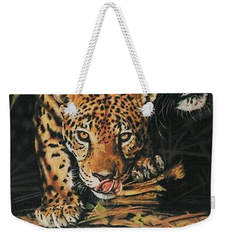 Jaguar Weekender Tote Bag featuring the pastel Forest Jewels by Barbara Keith