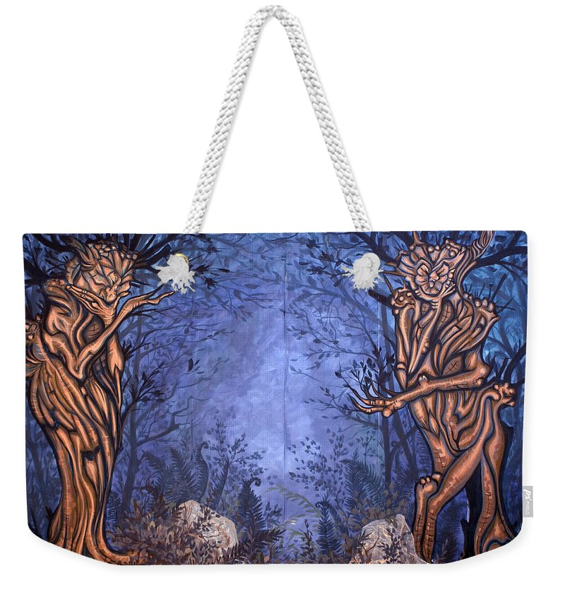 Mystic Weekender Tote Bag featuring the painting Forest by Judy Henninger