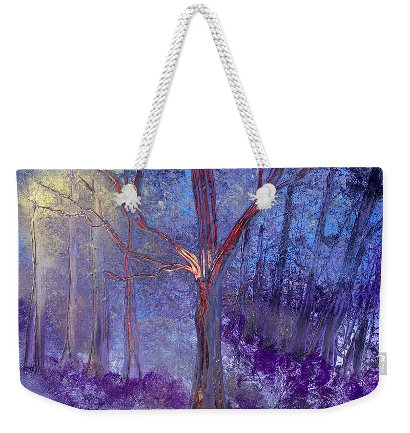 Moonlight Weekender Tote Bag featuring the painting Forest Light by Richard Fey