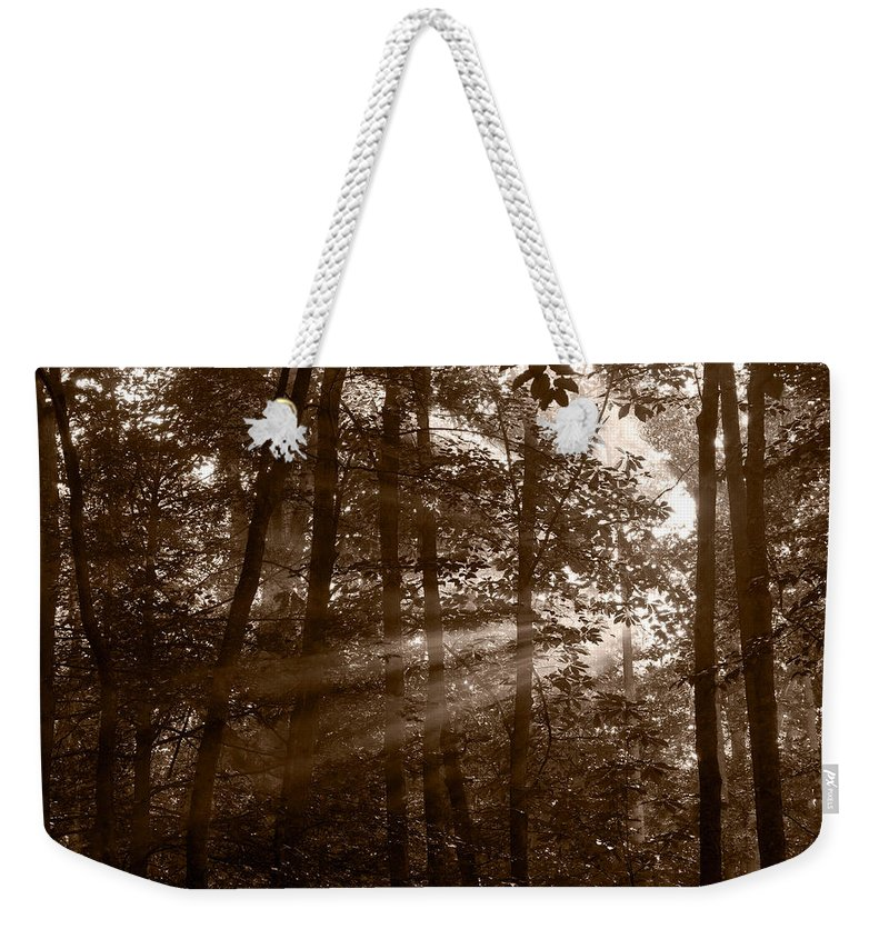 Black Weekender Tote Bag featuring the photograph Forest Mist B And W by Steve Gadomski