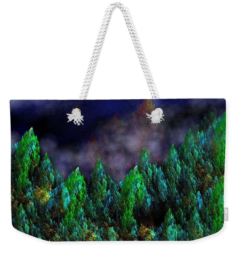 Abstract Digital Painting Weekender Tote Bag featuring the digital art Forest Primeval by David Lane