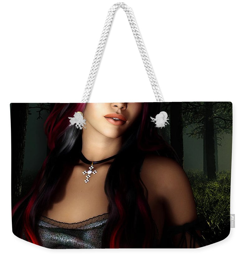 3d Weekender Tote Bag featuring the digital art Forest Princess by Jutta Maria Pusl