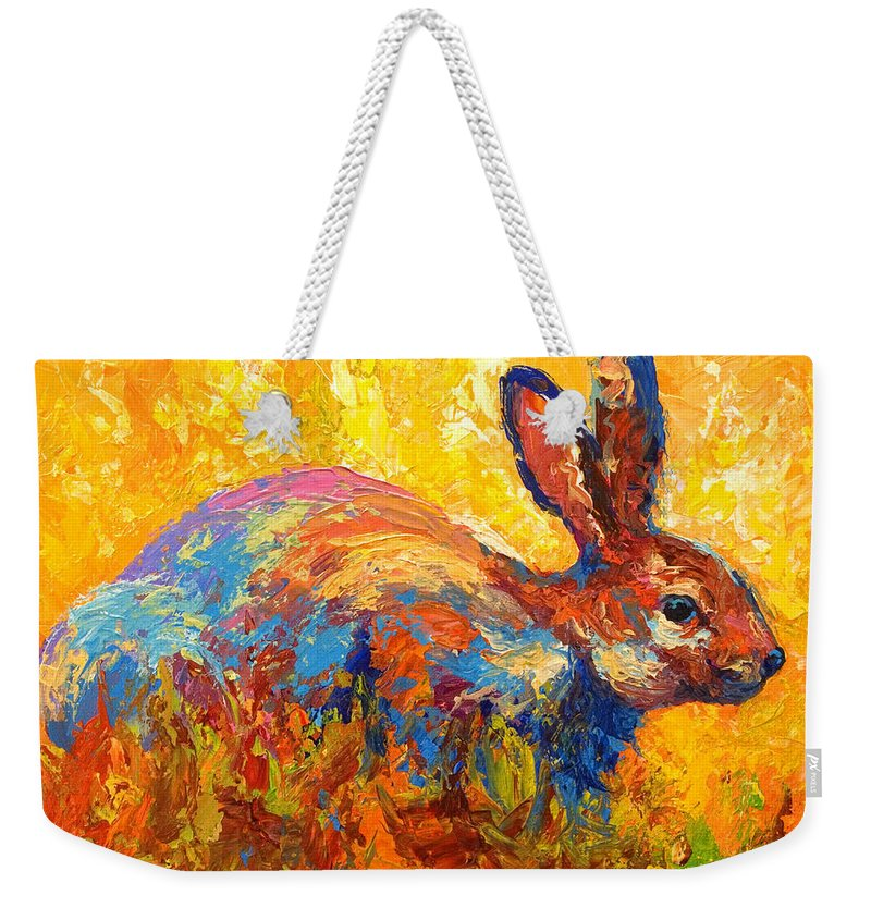 Rabbit Weekender Tote Bag featuring the painting Forest Rabbit II by Marion Rose