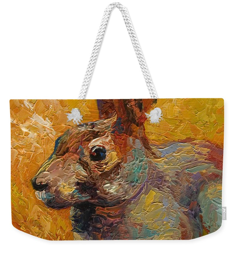 Rabbit Weekender Tote Bag featuring the painting Forest Rabbit IIi by Marion Rose