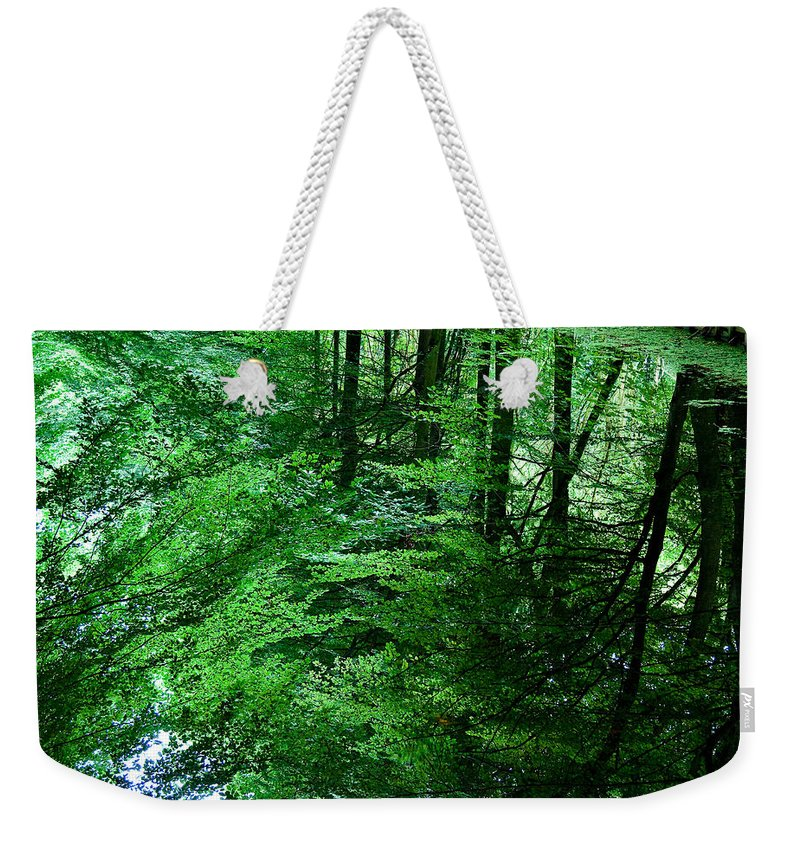 Forest Weekender Tote Bag featuring the photograph Forest Reflection by Dave Bowman