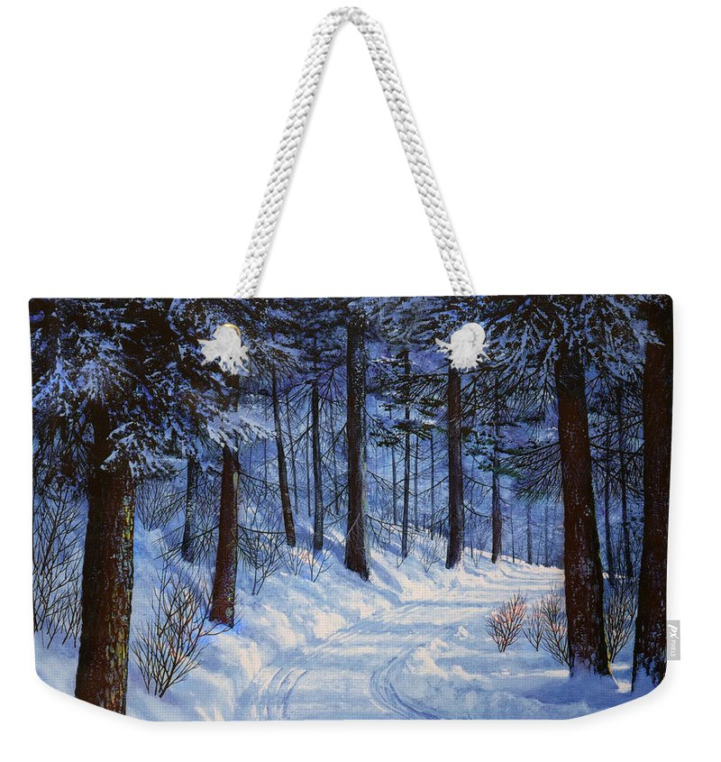 Landscape Weekender Tote Bag featuring the painting Forest Road by Frank Wilson