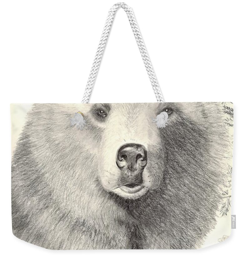 Grizzle Bear Weekender Tote Bag featuring the drawing Forest Sentry by Joette Snyder