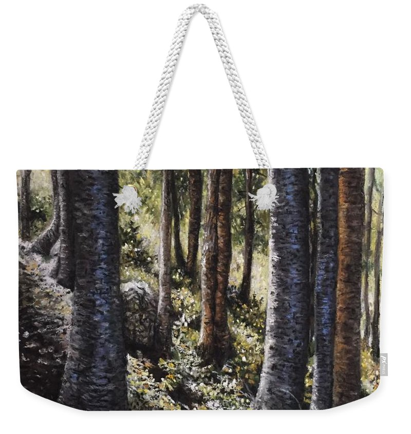 Trees Weekender Tote Bag featuring the pastel Forest Shadows by Wendy Koehrsen