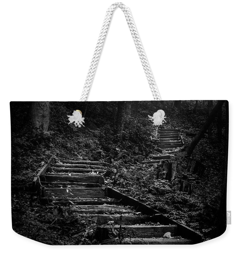 Landscape Weekender Tote Bag featuring the photograph Forest Stairs by Scott Norris