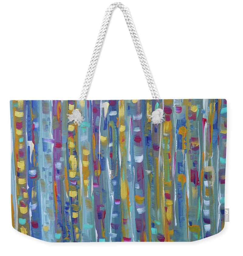 Teal Abstract Weekender Tote Bag featuring the painting Forest Through The Trees, Abstract Art by Kathy Symonds