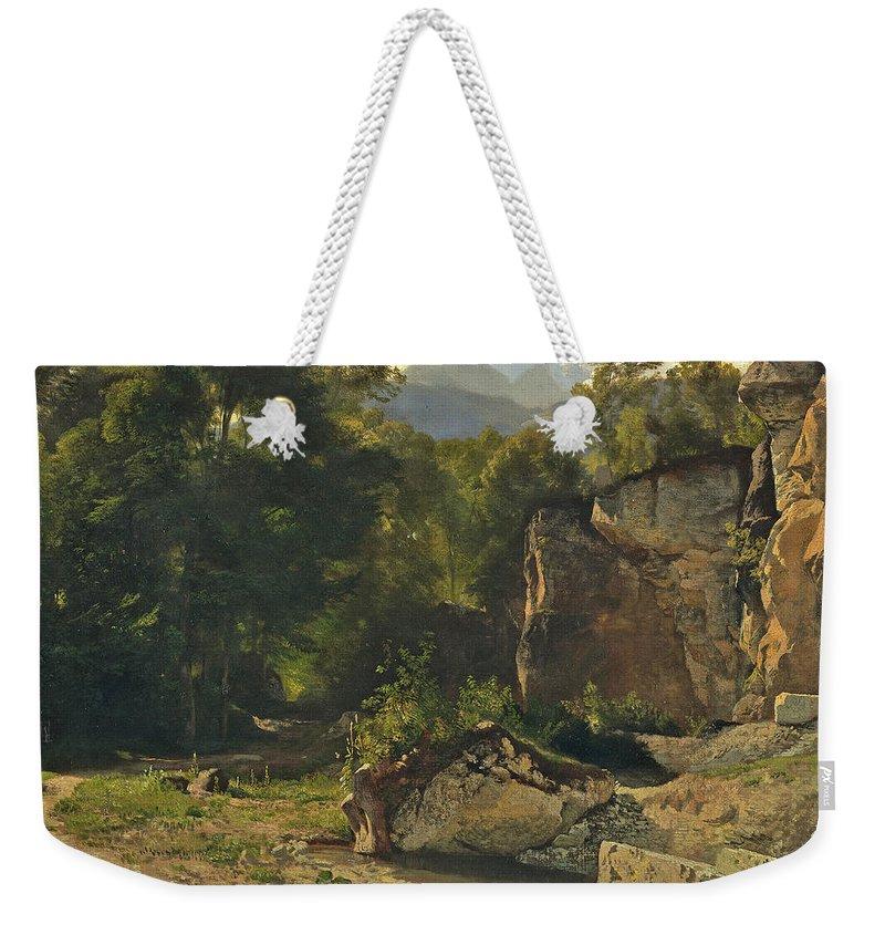 Johann Gottfried Steffan Weekender Tote Bag featuring the painting Forest Track. 1855 by Johann Gottfried Steffan