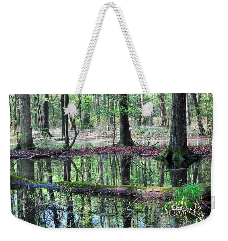 Wetland Forest Landscapes Chesapeake Bay Wetland Forest Endangered Mature Forest Habitat Maryland Wetland Forest Save The Bay Treasure The Chesapeake Wet Woodland Endangered Habitats Conservation Colorful Reflections Forest Reflections Nature Prints Weekender Tote Bag featuring the photograph Forest Wetland by Joshua Bales