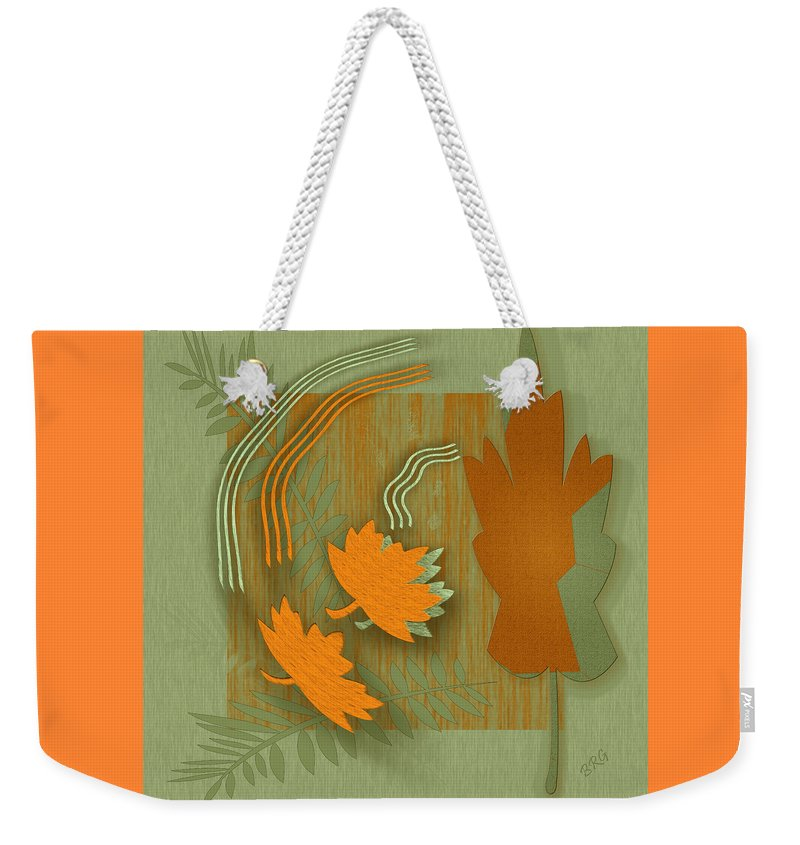 Abstract Still Life Weekender Tote Bag featuring the digital art Forever Leaves by Ben and Raisa Gertsberg