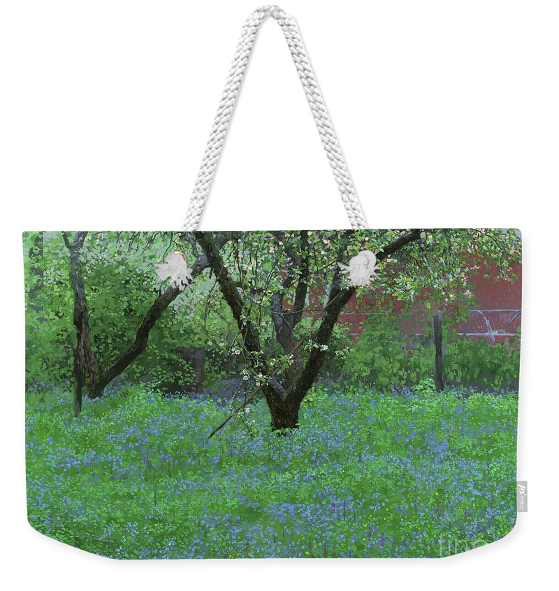 Landscape Weekender Tote Bag featuring the painting Forget Me Not Flowers by Simon Kozhin