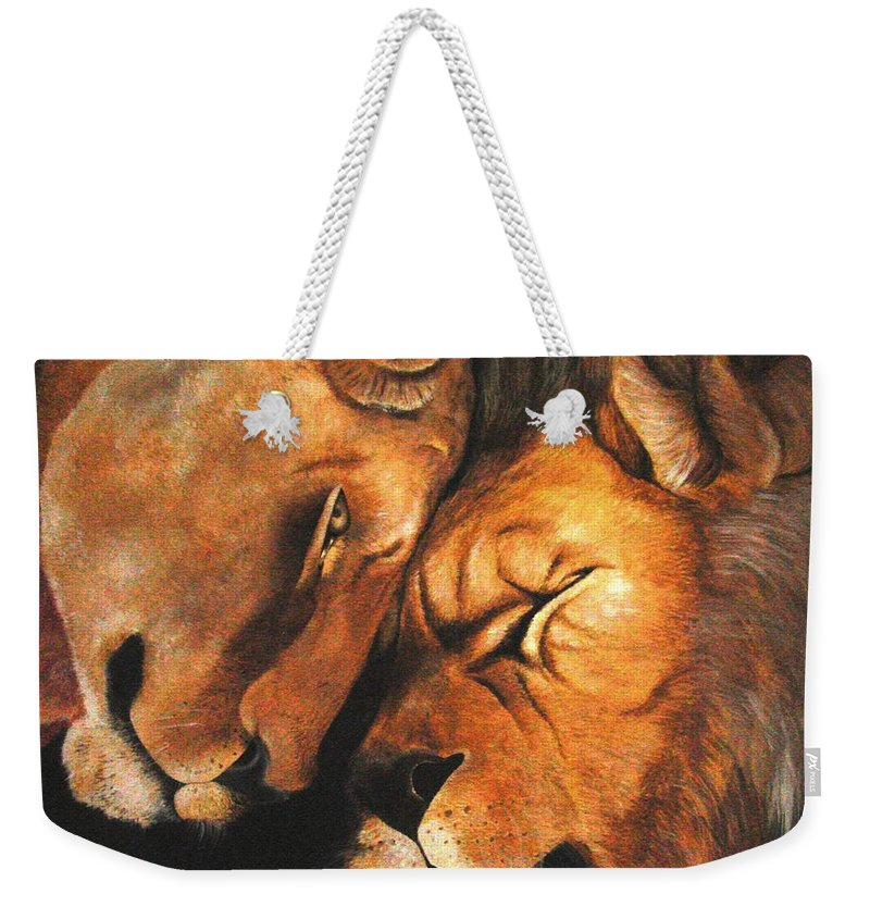 Lion Weekender Tote Bag featuring the painting Forgiven by Glory Fraulein Wolfe