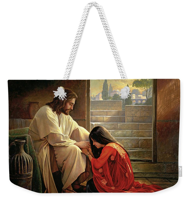 Jesus Weekender Tote Bag featuring the painting Forgiven by Greg Olsen