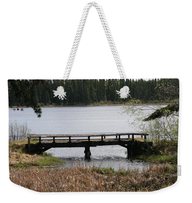 Lake Water Scenery Bridge Flooding Forest Nature Beauty Trees Weekender Tote Bag featuring the photograph Forgotten by Andrea Lawrence