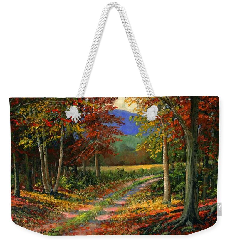 Landscape Weekender Tote Bag featuring the painting Forgotten Road by Frank Wilson
