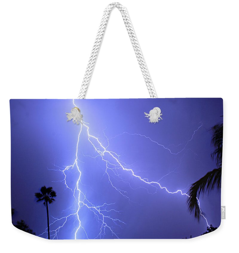 Lightning Weekender Tote Bag featuring the photograph Fork In The Sky by James BO Insogna