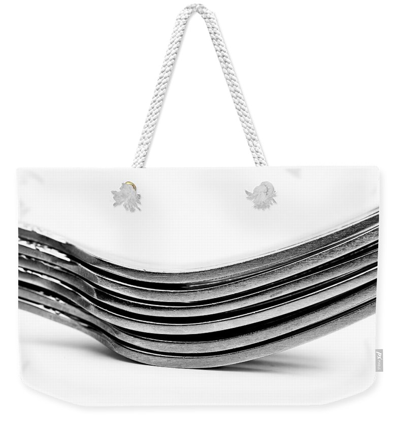 Flatware Weekender Tote Bag featuring the photograph Forks by Onyonet Photo Studios
