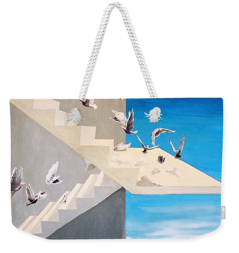 Birds Weekender Tote Bag featuring the painting Form Without Function by Steve Karol