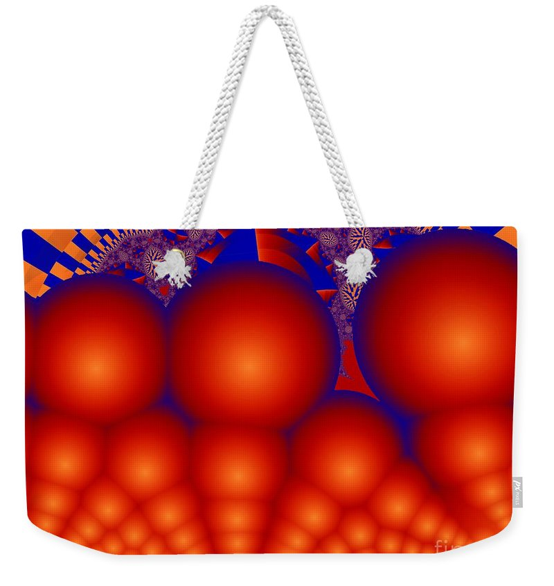 Fractal Image Weekender Tote Bag featuring the digital art Formation Of Red Orbs by Ron Bissett