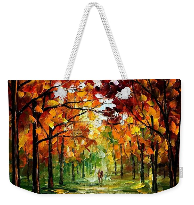 Jandscape Weekender Tote Bag featuring the painting Forrest Of Dreams by Leonid Afremov