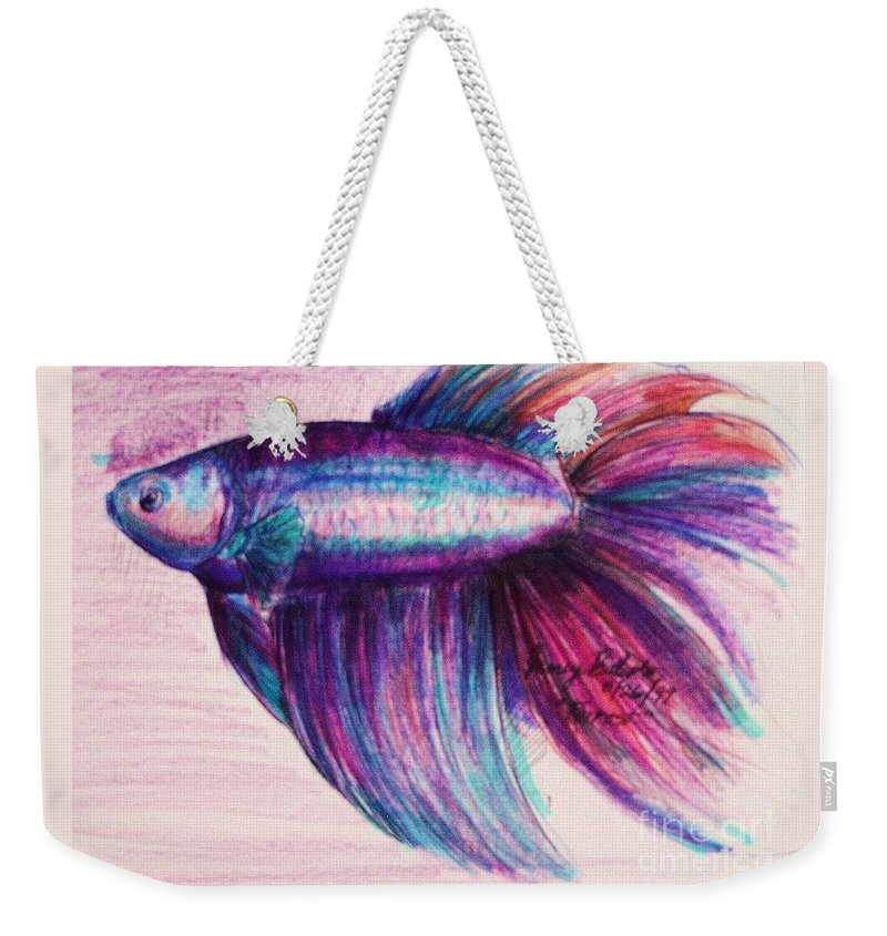 Fish Weekender Tote Bag featuring the drawing Forrest The Betta by Jamey Balester