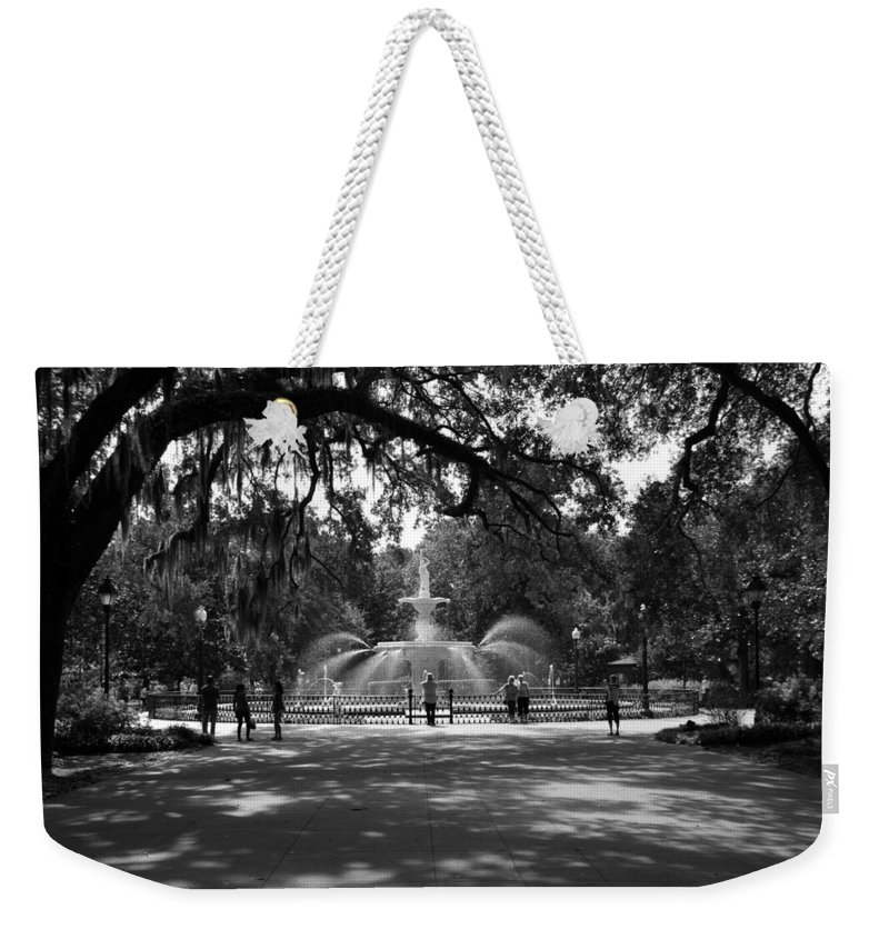 Forsyth Park Weekender Tote Bag featuring the photograph Forsyth Park Black And White by Lisa Wooten