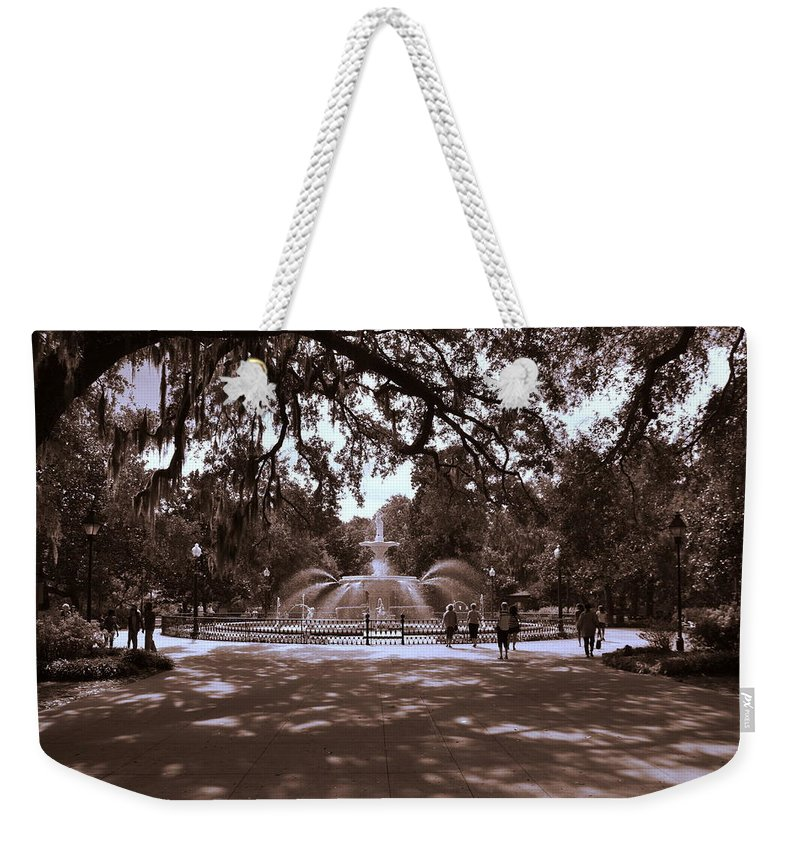 Forsyth Park Weekender Tote Bag featuring the photograph Forsyth Park Sepia by Lisa Wooten