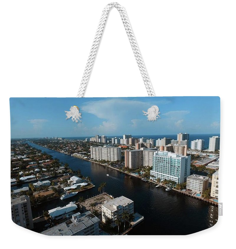 Aerial Photography Weekender Tote Bag featuring the photograph Fort Lauderdale Aerial Photography by Charles Markman