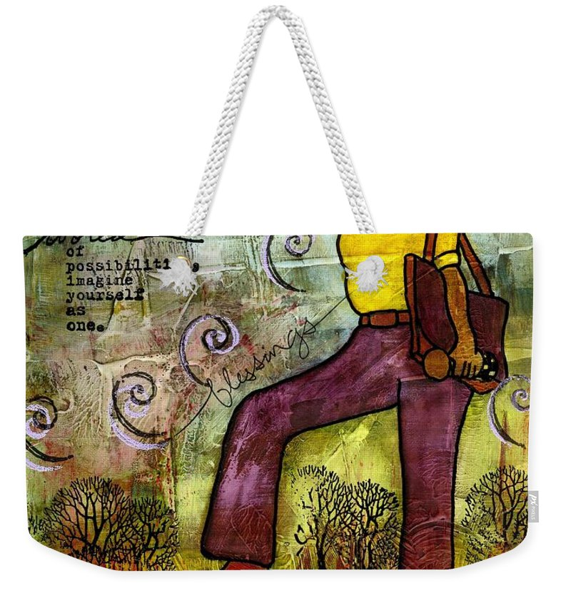 Acrylic Weekender Tote Bag featuring the painting Fortitude by Angela L Walker