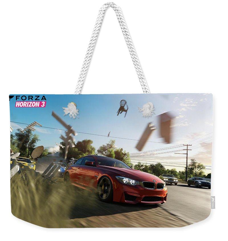 Forza Horizon 3 Weekender Tote Bag featuring the digital art Forza Horizon 3 by Zia Low