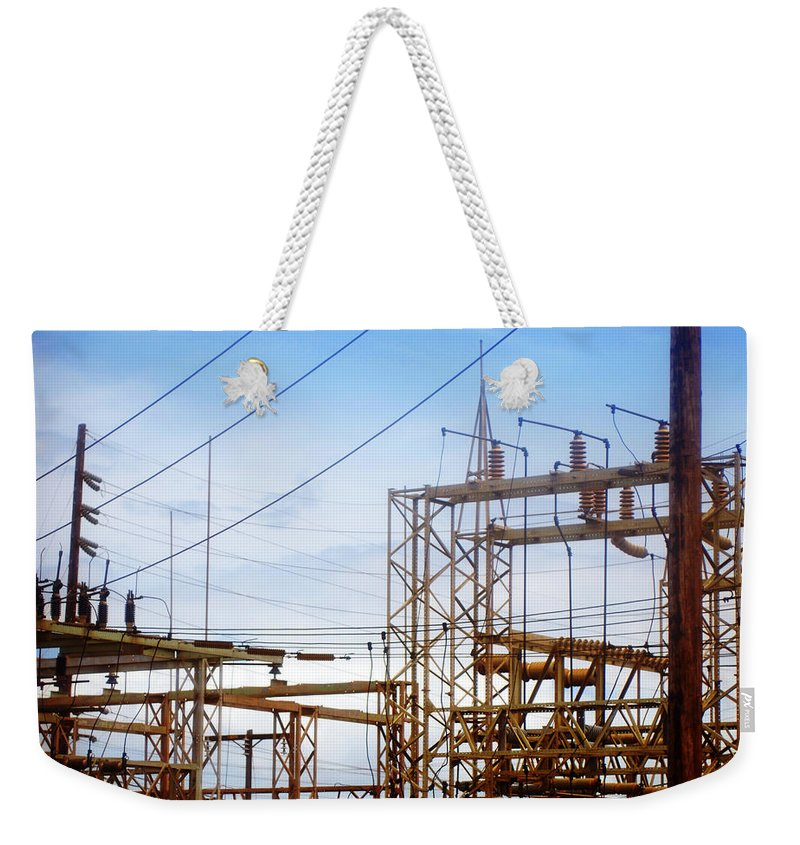 Power Lines Weekender Tote Bag featuring the photograph Fossil Power by Jill Reger