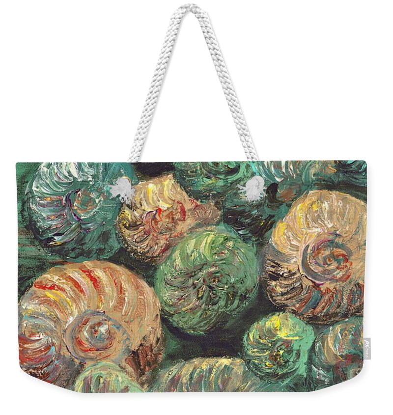 Shells Weekender Tote Bag featuring the mixed media Fossil Shells by Nadine Rippelmeyer
