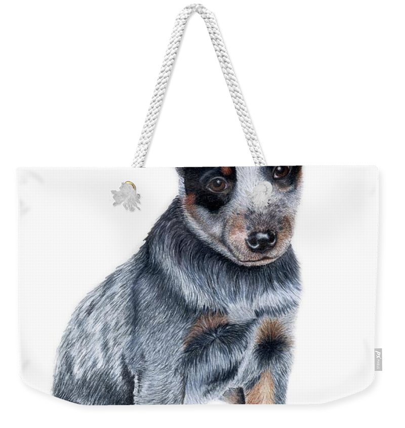 Dog Weekender Tote Bag featuring the drawing Foster by Kristen Wesch