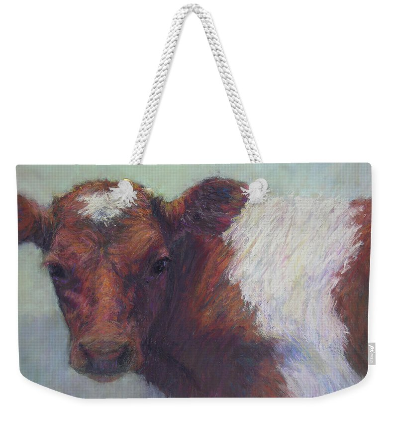 Cows Weekender Tote Bag featuring the painting Foundling by Susan Williamson