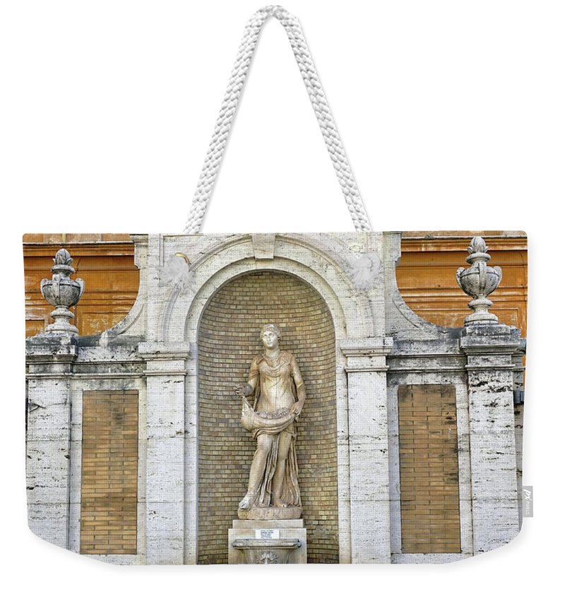 Fountain Weekender Tote Bag featuring the photograph Fountain In The Vatican City by Richard Rosenshein
