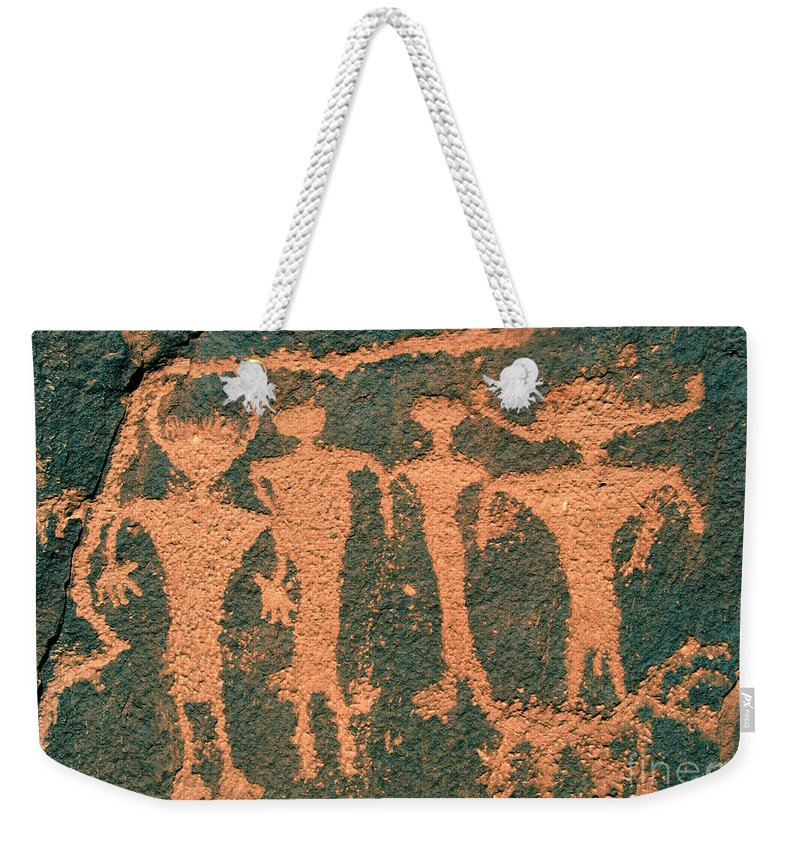 Petroglyphs Weekender Tote Bag featuring the photograph Four Anasazi by David Lee Thompson